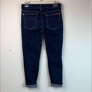 7 For All Mankind Jeans - 7 FAMK Kimmie crop dark wash stretch jeans, EUC 27